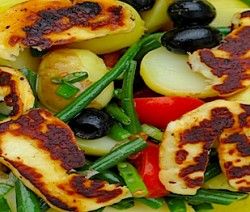 haloumi, beans and tomato salad - 575 copy
